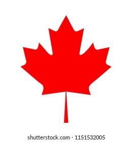 flat design canada flag maple leaf icon illustration