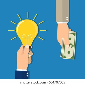 Flat design colorful concept for investing into ideas, crowdfunding, funding project by raising monetary contributions Raster version.