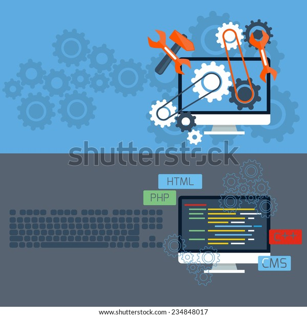 Flat design concept of programming and services with computer monitors and keyboard. Raster version