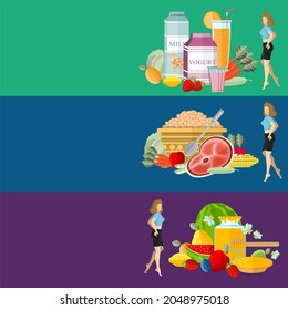 Flat design concepts for defferent useful food and health care, useful sweet, useful beverages, useful meal.