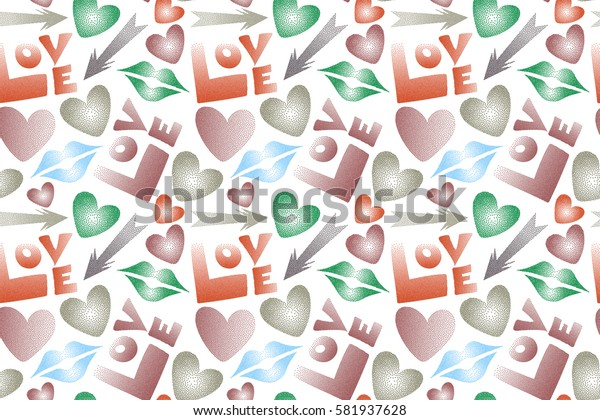 Flat design of hearts, cupid's arrow, lipstick kisses and love word. Seamless pattern of icon love symbols on a white. Raster design in red and orange colors.