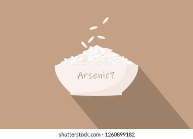 Flat design illustration - Arsenic in rice