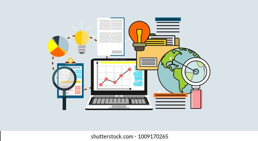 Flat design  illustration icons set of analytics search information and website SEO optimization