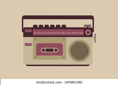 Flat design illustration of vintage record player with buttons and cassette inside