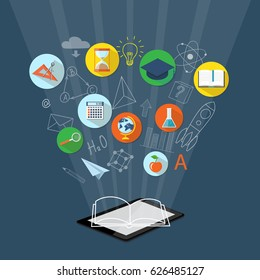 Flat design modern illustration concept for  higher school, university, online education, e-learning, e-book, business studying, training, tablet, clock, calculator, academic cap, book, globe, loupe