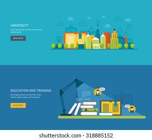 Flat design modern illustration icons set of global education, online training courses, staff training, specialization, university, tutorials. School and university building icon.