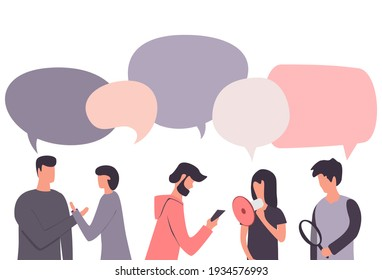 Flat design social network communication concept illustration of group of people chatting with speech bubbles.