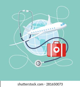 Flat design style modern concept of medical services abroad, along with the rest. Medical stethoscope around the globe, airplane and doctor bag with a red heart. Medical Tourism. Raster version