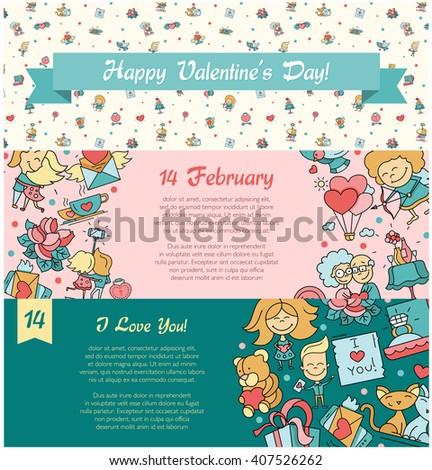 Flat Design Valentines Day Love Romance Stock Illustration 407526262