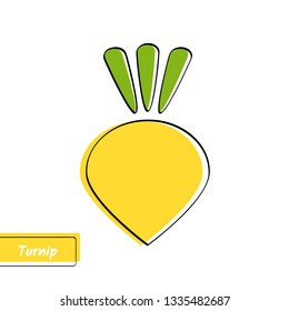 Flat design vegetable education card. illustration with solid yellow isolated turnip or rutabaga, black outline and label on white background for kid game, memory test or eco market sign.