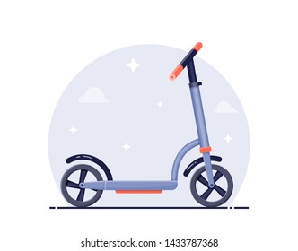 Flat detailed style illustration of scooter on neutral background.