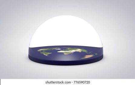 Flat earth concept. 3D Rendering. Elements of this image furnished by NASA