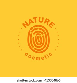 Flat eco product emblem. Ecological cosmetic sign. Eco badge. Finger stamp. Natural product line. Nature certificate quality. Eco symbol. Natural cosmetics. Eco friendly logo. Bio organic product.