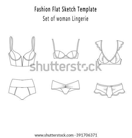 Flat Fashion Industrial Sketch Template Bra Stock Illustration
