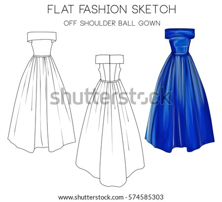 Flat Fashion Sketch Formal Ball Gown Stock Illustration - Royalty ...