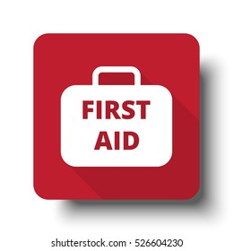 Flat First Aid Kit web icon on red button with drop shadow