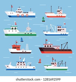 Flat fishing boats. Commercial fishery ships, seafood industry ship and marine fisher boat in harbor on water, fish shipping sea flat  isolated icons collection