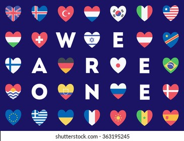 Flat Flags In the Shape Of Heart, We Are One