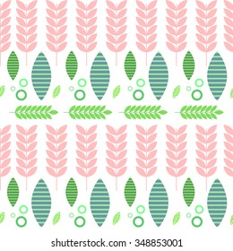 Flat floral pink and green pattern