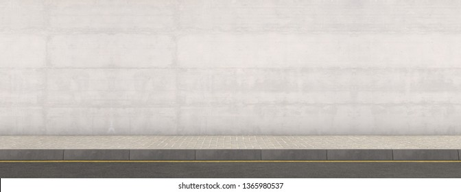 A flat front view of a section of raised sidewalk and street on a plain wall background - 3D render