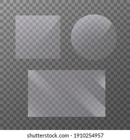 Flat glass plate banners. Realistic windows mockup. Set of mirror on transparent background. Light effect for a picture or a mirror. Clear glass showcase. 3d panel texture or clear window.