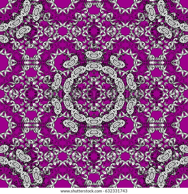 Flat hand drawn vintage collection. Backdrop, fabric, white wallpaper. Pattern on magenta background with white elements. White seamless pattern.