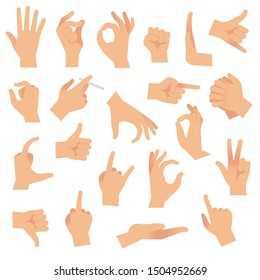 Flat hand gestures. Pointing human finger gesture, open hand signal. Arm communication attention fingertip signs collection
