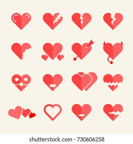 Flat heart icons or symbols set