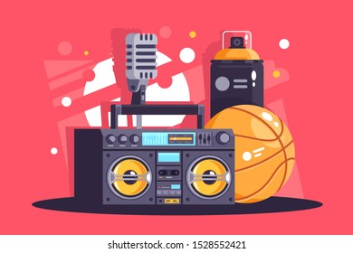 Flat hip-hop equipment with spray, microphone, basketball, boombox. Concept street culture, rap style. illustration