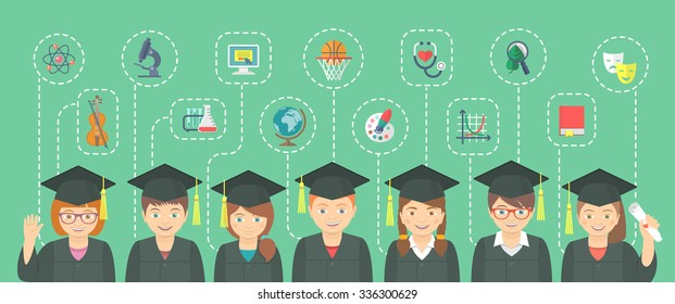 Flat horizontal illustration of group of kids in graduation gowns and caps with icons of different school subjects and sciences. Education infographics conceptual element. Header banner design