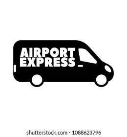 Flat icon for airport express service with transport van.