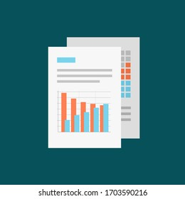 Flat icon business document information paper chart. illustration isolated