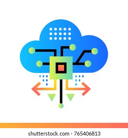 Flat icon Cloud based architecture. Data science technology and machine learning process. Material design icon suitable for print, website and presentation