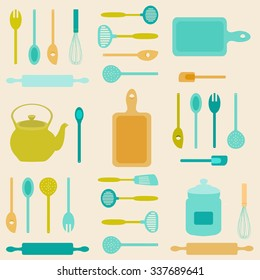 Flat icon illustration of assorted kitchen utensils./Kitchen Utensils