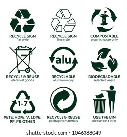 flat icon set for green eco packaging