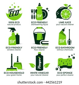 flat icon set for green eco cleaning