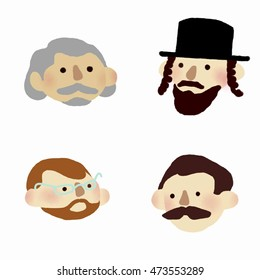 Flat icon  set:  men with mustaches and beards. Four different persons with beards, mustaches, one in a hat and with side locks, one wearing glasses, elderly man, red hair man on white background.