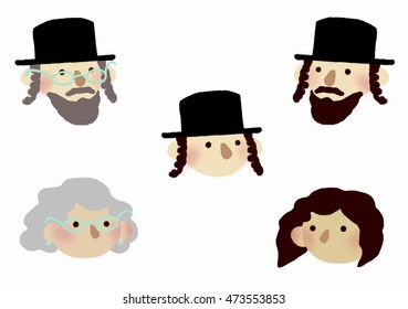 Flat icon  set: orthodox jewish people. Five chassid jewish persons on white background: elderly man and woman, man with side locks and beard, jewish woman and boy in black hat.