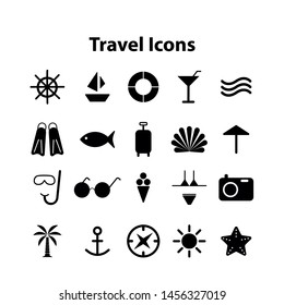 Flat icons collection of traveling, tourism and vacation theme. Isolated on white background.