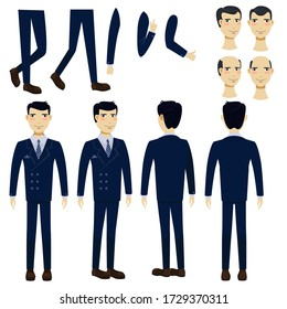 Flat icons set of Asian business man. Views, poses and hairstyles collection. Business man concept. Illustration can be used for topics like business, management, marketing.