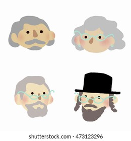 Flat icons set: senior people. Four persons with grey hair on white background.