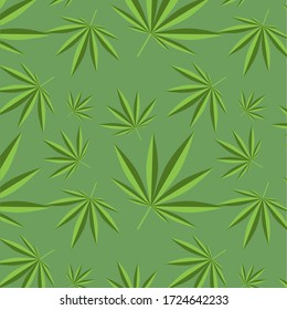 Flat illustration background with cannabis plant