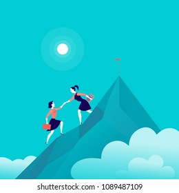 Flat illustration with business ladies climbing together on mountain peak top on blue clouded sky background. Team work, achievement, reaching aim, partnership, motivation, support, - metaphor.