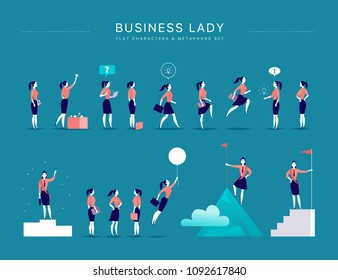 Flat illustration with business lady office characters & metaphors isolated on blue background. Concepts portraits for different business situations - leadership, idea, achievement, aspirations