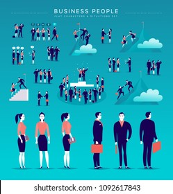 Flat illustration with business people office characters & metaphor isolated on blue background. Concept portraits for different business situations - partnership, idea, achievement, aspiration