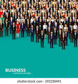 flat illustration of business or politics community. a crowd of men and women (business community or politicians) wearing suits, ties and dresses.