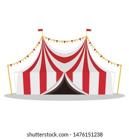 Flat illustration of a circus tent. Isolated illustration.