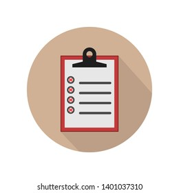Flat illustration of clipboard with checklist icon for web on cream background