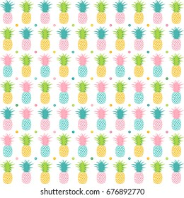 Flat illustration of a colorful pineapple pattern.