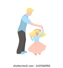 Flat illustration. dad dancing with his daughter. man with a little girl. Dance with my dady